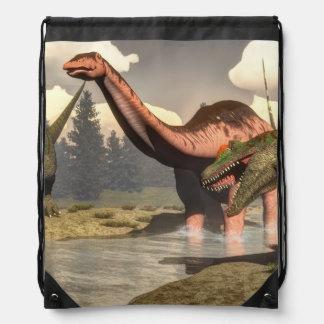 Allosaurus hunting big brontosaurus dinosaur - 3D Drawstring Bag