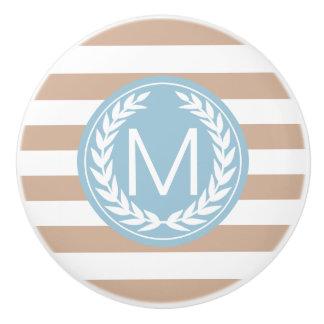 Almond & White Stripe with Light Blue Monogram Ceramic Knob