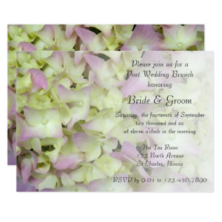 Almost Pink Hydrangea Floral Post Wedding Brunch Card