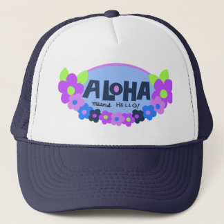 Aloha Means Hello Hawaiian Floral Trucker Hat