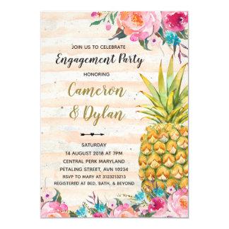 aloha tropical pineapple engagement invitation