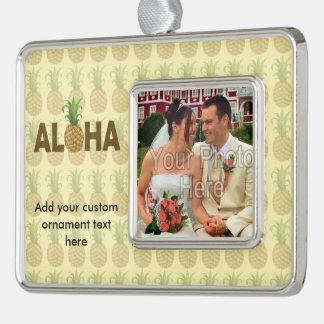 Aloha Vintage Pineapple Hawaiian Hawaii Silver Plated Framed Ornament