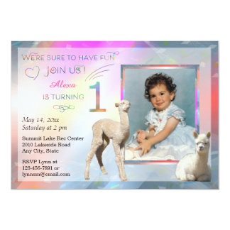 Alpaca Baby Girl 1st Birthday Party Invitations