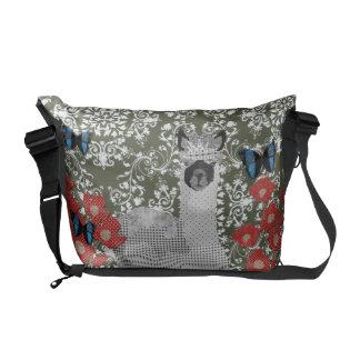 Alpaca Boho Butterflies Olive Damask Messenger Bag