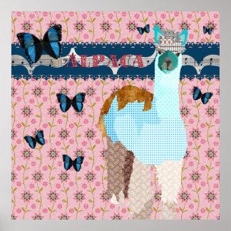 Alpaca Boho Butterflies Pink Floral Poster