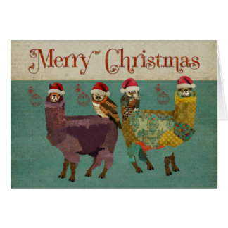 Alpacas & Owls Blue Christmas Card