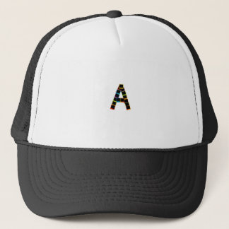 Alphabet A with colorful Trucker Hat