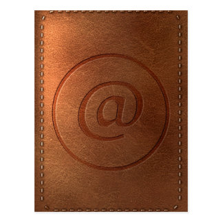 alphabet leather letter @ at postcard