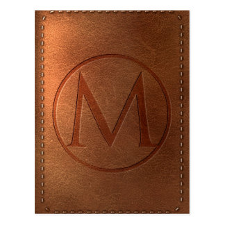 alphabet leather letter M Postcard