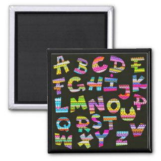 Alphabet letters colourful black patterns fun part fridge magnets
