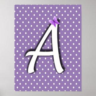 Alphabet Nursery Baby Wall Decor Lavender Purple Poster