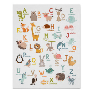 Alphabet wall art Alphabet animals Kids room