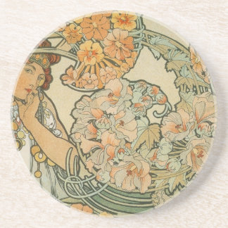 Alphonse Mucha Art Deco Beverage Coaster