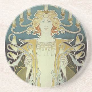 Alphonse Mucha Art Deco Drink Coasters