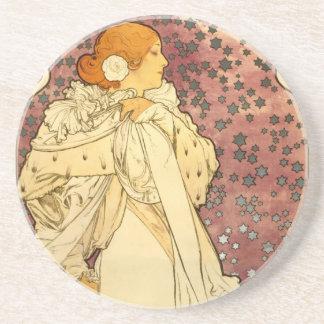 Alphonse Mucha Art Deco Sandstone Coaster
