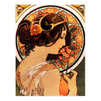 Alphonse Mucha Cow Slip Postcard