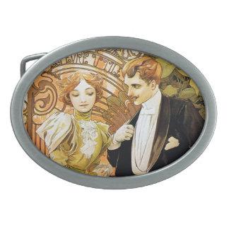 Alphonse Mucha Flirt Vintage Romantic Art Nouveau Belt Buckles