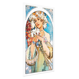 Alphonse Mucha - Flower - Retro Art Nouveau Canvas Print