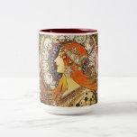 Alphonse Mucha La Plume Zodiac Art Nouveau Vintage Two-Tone Mug
