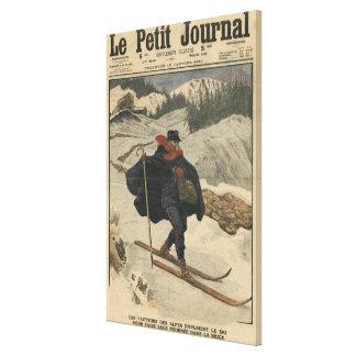 Alpine postmen using ski canvas print