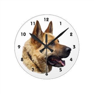 Alsatian German shepherd portrait Wall Clock