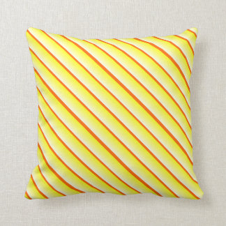 Alternating Width Stripes Yellow and Orange Cushion
