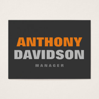 Alternative Perfect Size Grey Orange Bold Text Business Card
