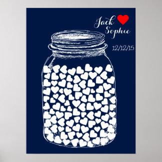 Alternative wedding guest book mason chalk 100 poster