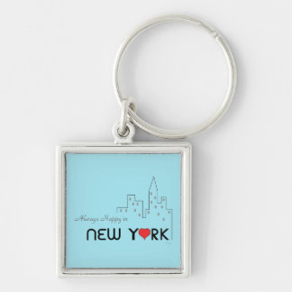 Always Happy in New York Silver-Colored Square Key Ring