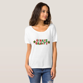 Always Naughty, Never Nice Roller Derby Christmas T-Shirt