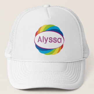 Alyssa in Rainbow Trucker Hat