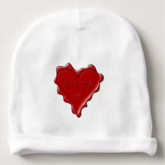 Alyssa. Red heart wax seal with name Alyssa Baby Beanie