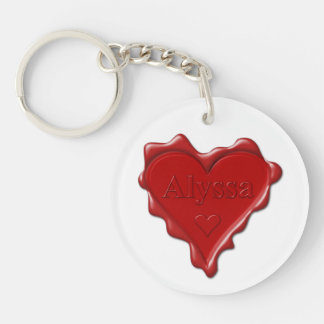 Alyssa. Red heart wax seal with name Alyssa Key Ring