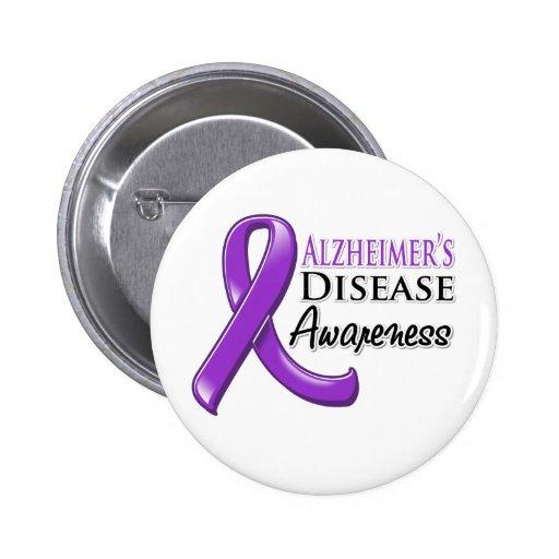 Alzheimer's Disease Awareness Ribbon Buttons