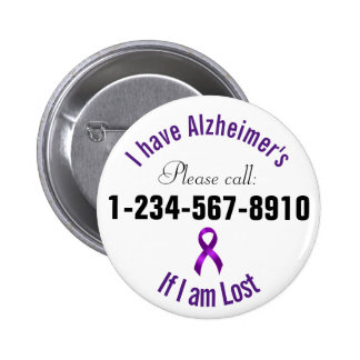 Alzheimers Emergency Contact 6 Cm Round Badge