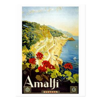 """Amalfi"" Vintage Travel Poster Postcard"
