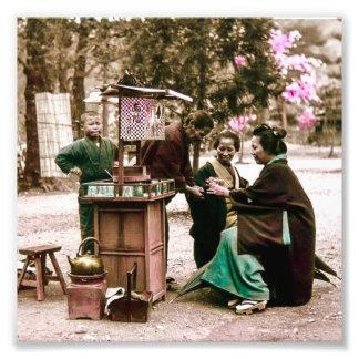 Amazake Merchant in Old Japan Vintage Japanese Photograph