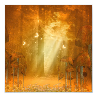 Amazing forest with butterflies magnetic card