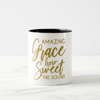 Amazing Grace How Sweet The Sound Spiritual coffee Two-Tone Coffee Mug