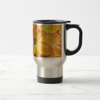 Amazing orange floral elements travel mug