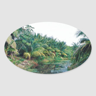 Amazon Jungle River Landscape Oval Stickers