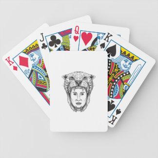 Amazon Warrior Jaguar Headdress Tattoo Bicycle Playing Cards