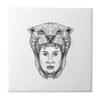 Amazon Warrior Jaguar Headdress Tattoo Tile