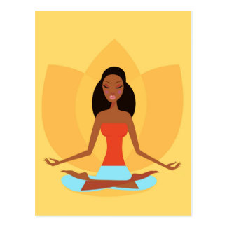 AMAZONIC YOGA PRINCESS WELLNESS GIRL YELLOW POSTCARD