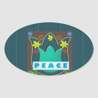 Ambassdor of PEACE Society Nations Artistic GIFTS Oval Sticker