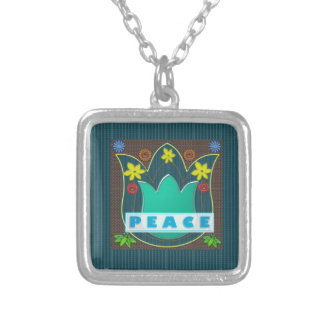 Ambassdor of PEACE Society Nations Artistic GIFTS Square Pendant Necklace