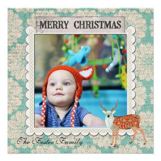 Amber Azure Buck Blue Christmas Photo Card