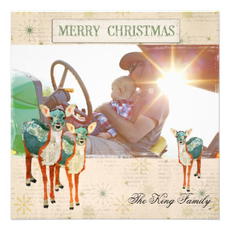 Amber Azure Fawns Christmas Photo Card