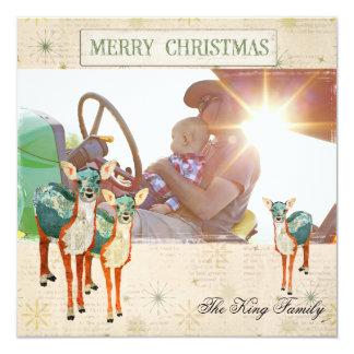 Amber & Azure Fawns Christmas Photo Card Personalized Invitation