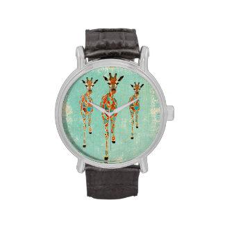Amber & Azure Giraffes Watch